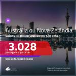Promoção de Passagens para a <b>AUSTRÁLIA ou NOVA ZELÂNDIA</b>! A partir de R$ 3.028, ida e volta, c/ taxas!