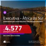 Promoção de Passagens em <b>CLASSE EXECUTIVA</b> para a <b>ÁFRICA DO SUL: Cape Town ou Joanesburgo</b>! A partir de R$ 4.577, ida e volta, c/ taxas, usando o CUPOM DE DESCONTO!!!