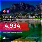 Promoção de Passagens 2 em 1 em <b>CLASSE EXECUTIVA</b> – <b>ÁFRICA DO SUL: Cape Town + Joanesburgo</b>! A partir de R$ 4.934, todos os trechos, c/ taxas, usando o CUPOM DE DESCONTO!