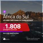 Promoção de Passagens para a <b>ÁFRICA DO SUL: Cape Town ou Joanesburgo</b>! A partir de R$ 1.808, ida e volta, c/ taxas!