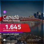 Promoção de Passagens para o <b>CANADÁ: Calgary, Montreal, Ottawa, Quebec, Toronto ou Vancouver</b>! A partir de R$ 1.645, ida e volta, c/ taxas!
