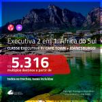 Promoção de Passagens 2 em 1 em <b>CLASSE EXECUTIVA</b> – <b>ÁFRICA DO SUL: Cape Town + Joanesburgo</b>! A partir de R$ 5.316, todos os trechos, c/ taxas!