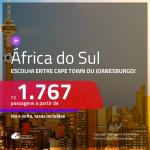 Promoção de Passagens para a <b>ÁFRICA DO SUL: Cape Town ou Joanesburgo</b>! A partir de R$ 1.767, ida e volta, c/ taxas!