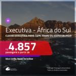 Passagens em <b>CLASSE EXECUTIVA</b> para a <b>ÁFRICA DO SUL: Cape Town ou Joanesburgo</b>! A partir de R$ 4.857, ida e volta, c/ taxas!