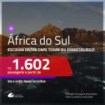 Promoção de Passagens para a <b>ÁFRICA DO SUL: Cape Town ou Joanesburgo</b>! A partir de R$ 1.602, ida e volta, c/ taxas!