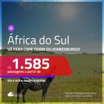 Promoção de Passagens para a <b>ÁFRICA DO SUL: Cape Town ou Joanesburgo</b>! A partir de R$ 1.585, ida e volta, c/ taxas!
