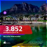 Promoção de Passagens em <b>CLASSE EXECUTIVA</b> para a <b>ÁFRICA DO SUL: Cape Town ou Joanesburgo</b>! A partir de R$ 3.852, ida e volta, c/ taxas!