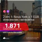 Promoção de Passagens 2 em 1 – <b>NOVA YORK + CHICAGO, LOS ANGELES, MIAMI, ORLANDO ou  SAN FRANCISCO</b>! A partir de R$ 1.871, todos os trechos, c/ taxas!