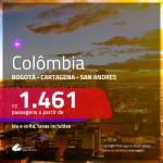 Promoção de Passagens para a <b>COLÔMBIA: Bogotá</b> a partir de R$ 1.461, <b>Cartagena ou San Andres</b> a partir de R$ 1.794, ida e volta, c/ taxas!