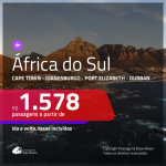 Promoção de Passagens para a <b>ÁFRICA DO SUL: Cape Town, Joanesburgo, Port Elizabeth ou Durban</b>! A partir de R$ 1.578, ida e volta, c/ taxas!