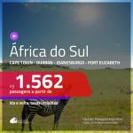 Promoção de Passagens para a <b>ÁFRICA DO SUL: Cape Town, Durban, Joanesburgo ou Port Elizabeth</b>! A partir de R$ 1.562, com opções de VOO DIRETO, ida e volta, c/ taxas!
