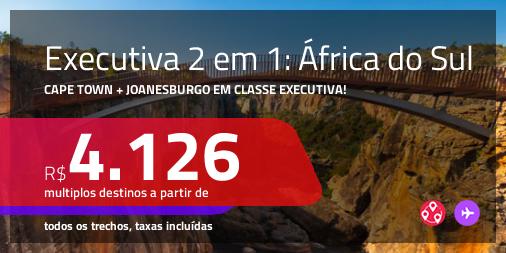 Promoção de Passagens 2 em 1 em <b>CLASSE EXECUTIVA</b> – <b>ÁFRICA DO SUL: Cape Town + Joanesburgo</b>! A partir de R$ 4.126, todos os trechos, c/ taxas!