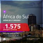 Promoção de Passagens para a <b>ÁFRICA DO SUL: Cape Town, Durban, Joanesburgo ou Port Elizabeth</b>! A partir de R$ 1.575, ida e volta, c/ taxas! Opções para o Natal, Réveillon e mais feriados!