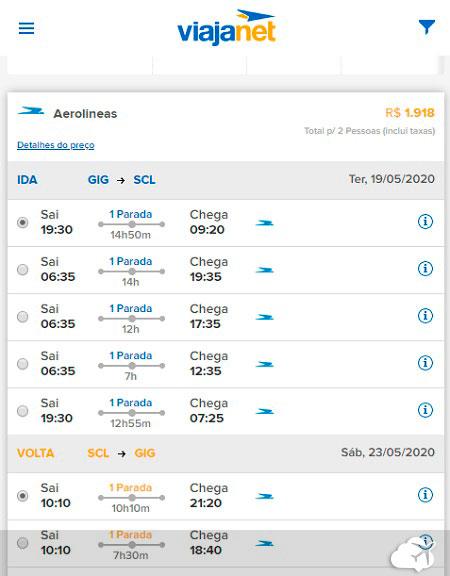 preco voo santiago 2 pessoas