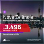 Promoção de Passagens para a <b>NOVA ZELÂNDIA: Auckland, Christchurch ou Wellington</b>! A partir de R$ 3.496, ida e volta, c/ taxas!