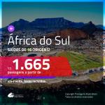 Promoção de Passagens para a <b>ÁFRICA DO SUL: Cape Town ou Joanesburgo</b>! A partir de R$ 1.665, ida e volta, c/ taxas!