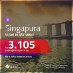 Promoção de Passagens para <b>SINGAPURA</b>! A partir de R$ 3.105, ida e volta, c/ taxas!