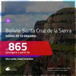 Promoção de Passagens para a <b>BOLÍVIA: Santa Cruz de la Sierra</b>! A partir de R$ 865, ida e volta, c/ taxas!