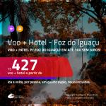 Promoção de <b>PASSAGEM + HOTEL</b> para <b>FOZ DO IGUAÇU</b>, com café da manhã incluso! A partir de R$ 427, por pessoa, quarto duplo, c/ taxas!