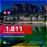 Promoção de Passagens 2 em 1 para a <b>ÁFRICA DO SUL</b> – Vá para: <b>Cape Town + Joanesburgo</b>! A partir de R$ 1.811, todos os trechos, c/ taxas!
