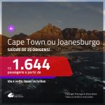 Promoção de Passagens para a <b>ÁFRICA DO SUL: Cape Town ou Joanesburgo</b>! A partir de R$ 1.644, ida e volta, c/ taxas!