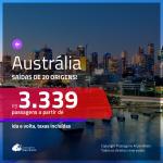 Promoção de Passagens para a <b>AUSTRÁLIA: Brisbane, Melbourne ou Sydney</b>! A partir de R$ 3.339, ida e volta, c/ taxas!