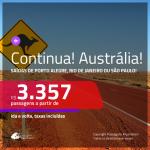 Continua!!! Promoção de Passagens para a <b>AUSTRÁLIA: Brisbane, Melbourne ou Sydney</b>! A partir de R$ 3.357, ida e volta, c/ taxas!