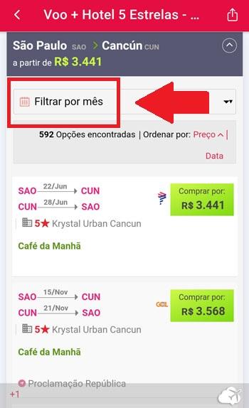 filtro data pacote app passagens imperdiveis