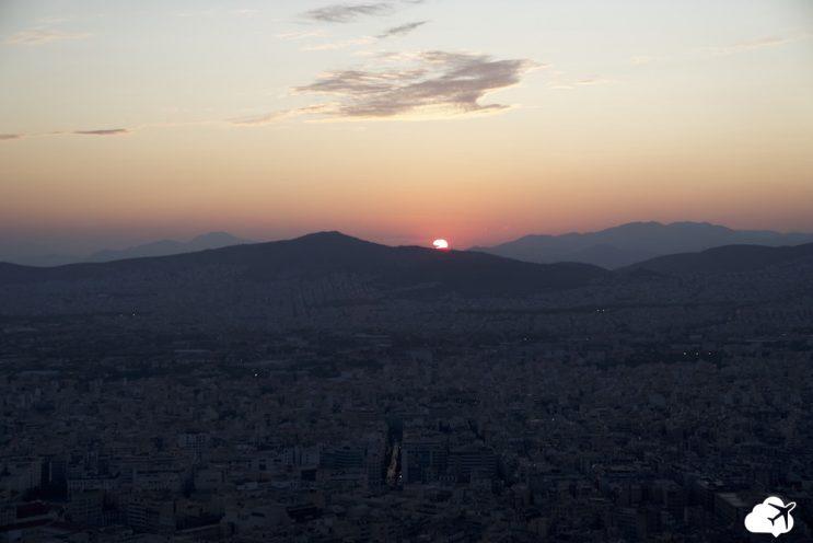por do sol monte lycabeto atenas grecia