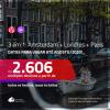 Promoção de Passagens 3 em 1 – <b>AMSTERDAM + LONDRES + PARIS</b>, com datas para viajar até AGOSTO/2020!!! A partir de R$ 2.606, todos os trechos, c/ taxas!