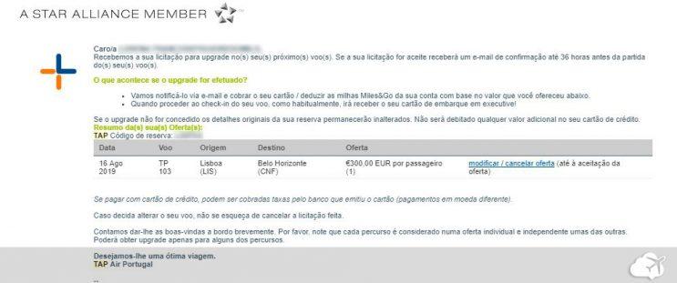e-mail upgrade para a classe executiva da TAP