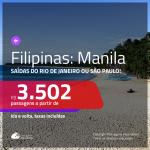 Seleção de Passagens para as <b>FILIPINAS: Manila</b>! A partir de R$ 3.502, ida e volta, c/ taxas!