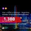 Promoção de <b>PASSAGEM + HOTEL 4 ESTRELAS</b> para a <b>ARGENTINA: Buenos Aires</b>! A partir de R$ 1.388, por pessoa, quarto duplo, c/ taxas!