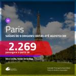 Promoção de Passagens para <b>PARIS</b>! A partir de R$ 2.269, ida e volta, c/ taxas! Datas até AGOSTO/20!