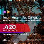 Promoção de <b>PASSAGEM + HOTEL</b> para <b>FOZ DO IGUAÇU</b>! A partir de R$ 420, por pessoa, quarto duplo, c/ taxas em até 10x SEM JUROS!