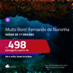 MUITO BOM!!! Promoção de Passagens para <b>FERNANDO DE NORONHA</b> a partir de R$ 498, ida e volta, c/ taxas!