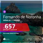 Passagens para <b>FERNANDO DE NORONHA</b>! A partir de R$ 657, ida e volta, c/ taxas!