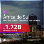 Promoção de Passagens para a <b>ÁFRICA DO SUL: Cape Town, Durban, Joanesburgo ou Port Elizabeth</b>! A partir de R$ 1.728, ida e volta, c/ taxas!