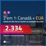 Promoção de Passagens 2 em 1 – <b>CANADÁ: Quebec ou Vancouver + EUA: Chicago ou Nova York</b>! A partir de R$ 2.334, todos os trechos, c/ taxas! Com opções de BAGAGEM INCLUÍDA!