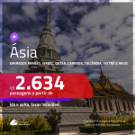 Promoção de Passagens para a <b>ÁSIA: China, Emirados Árabes, Israel, Líbano, Qatar, Camboja, Singapura, Tailândia, Vietnã ou Índia</b>! A partir de R$ 2.634, ida e volta, c/ taxas!