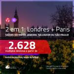 Promoção de Passagens 2 em 1 – <b>LONDRES + PARIS</b>! A partir de R$ 2.628, todos os trechos, c/ taxas!