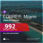 CORRE!!! Promoção de Passagens para <b>MIAMI</b>! A partir de R$ 992, ida e volta, c/ taxas!