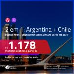 Promoção de Passagens 2 em 1 – <b>ARGENTINA: Buenos Aires + CHILE: Santiago</b>! A partir de R$ 1.178, todos os trechos, c/ taxas! Datas para viajar até 2021!