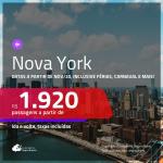 Promoção de Passagens para <b>NOVA YORK</b>, com datas a partir de NOV/20, inclusive Férias de JAN/21, Carnaval e mais! A partir de R$ 1.920, ida e volta, c/ taxas!
