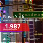 Passagens para <b>NOVA YORK</b>, com datas a partir de SET/20, inclusive Férias de JAN/21, Carnaval e mais!! A partir de R$ 1.987, ida e volta, c/ taxas!