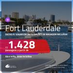 Passagens para <b>FORT LAUDERDALE</b>, com datas para viajar em 2021! A partir de R$ 1.428, ida e volta, c/ taxas! Opções de BAGAGEM INCLUÍDA!