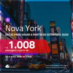 Promoção de Passagens para <b>NOVA YORK</b>, para viajar a partir de SETEMBRO 2020! Valores a partir de R$ 1.008, ida e volta, c/ taxas!