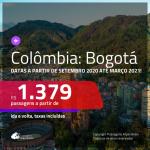 Passagens para a <b>COLÔMBIA: Bogotá</b>, com datas a partir de SETEMBRO 2020 até MARÇO 2021! Valores a partir de R$ 1.379, ida e volta, c/ taxas!