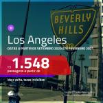 Passagens para <b>LOS ANGELES</b>, com datas para viajar a partir de SETEMBRO 2020 até FEVEREIRO 2021! Valores a partir de R$ 1.548, ida e volta, c/ taxas!