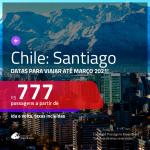 Passagens para o <b>CHILE: Santiago</b>, com datas para viajar até MARÇO/2021! A partir de R$ 777, ida e volta, c/ taxas!
